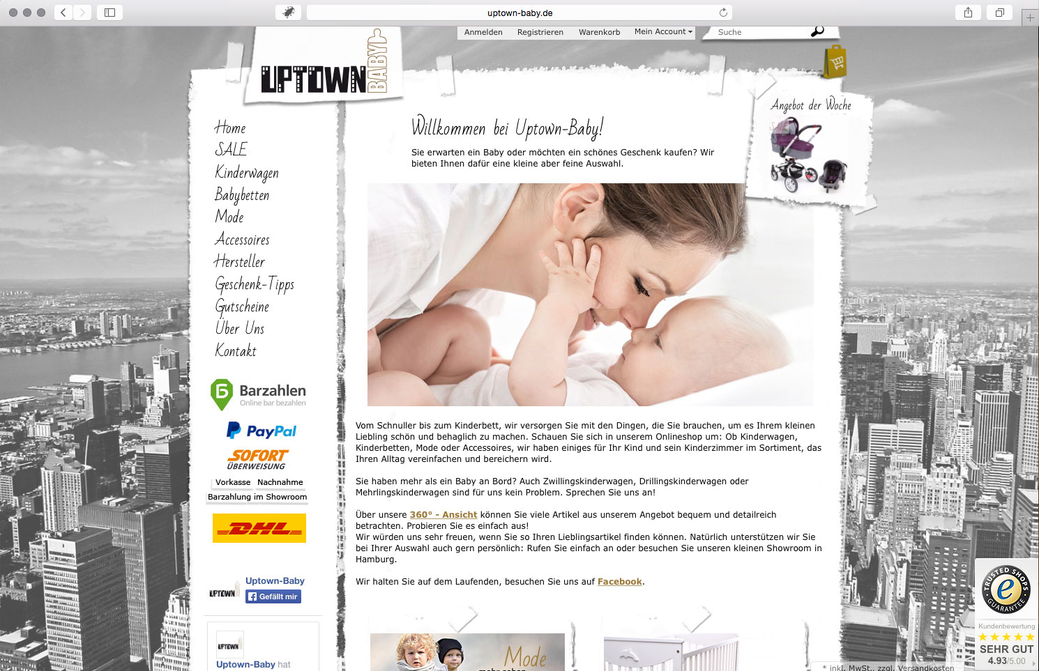 brainbreak Grafik Onlineshop Referenz: Uptown-Baby